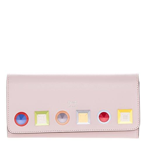 Fendi Women's Long Rainbow Studded Chain Wallet Pink