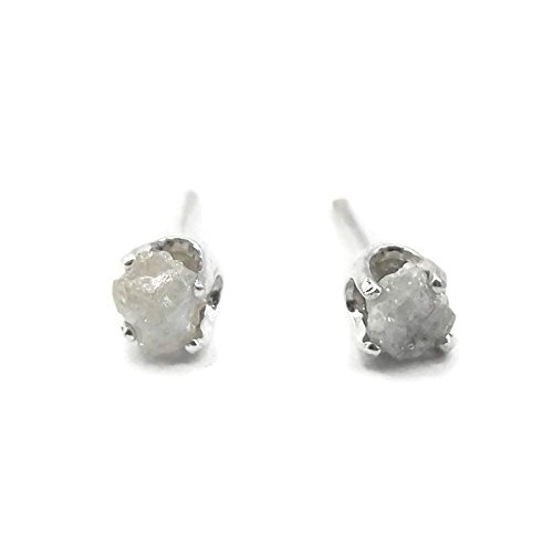 Sterling Silver Rough White Diamond Stud Earrings