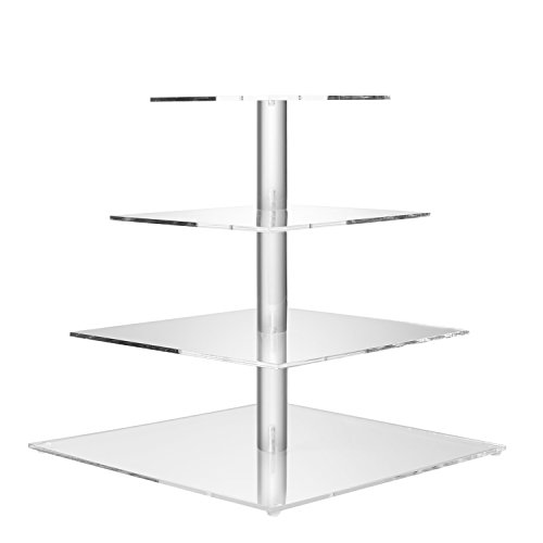 Flexzion 4 Tier Cupcake Stand Holder Tower - Wedding Birthday Party Plastic Pastry Display Tree for Baby Family Afternoon Dessert - Tiered Acrylic Glass Cake Carrier w/Top Tier (4 Tier Clear, Square) by Flexzion (Image #1)
