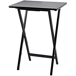 PJ Wood Folding TV Tray & Snack Table - Black Finish Rubberwood