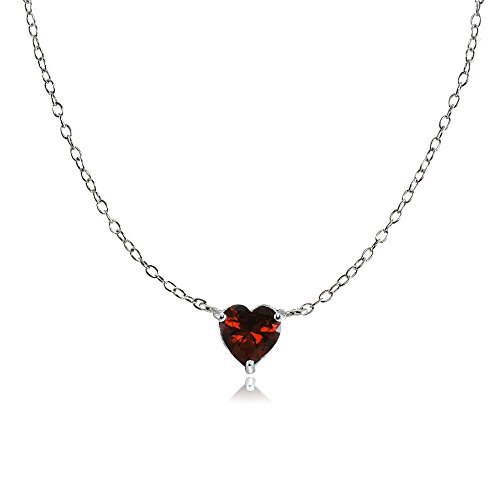Sterling Silver Small Dainty Garnet Heart Choker Necklace Chokers Garnet Pendants