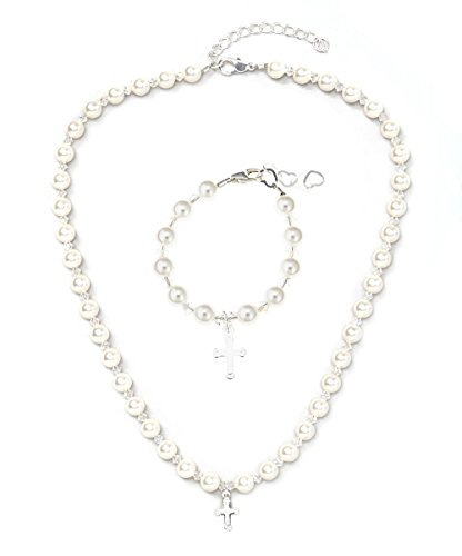 Christening Sterling Silver Engraved Cross Charm Keepsake Girl Bracelet and Necklace Gift Set with White Swarovski Simulated Pearls and Clear Crystals (GSNBCRSE_L)