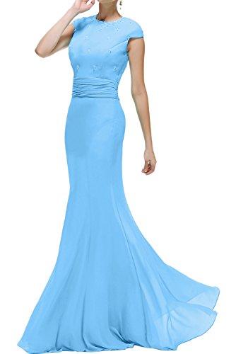 Brautmutterkleid Meerjungfrau Hellblau Rundkragen Promkleid Ivydressing Ballkleider Abendkleider Damen Lang wSqnx1F
