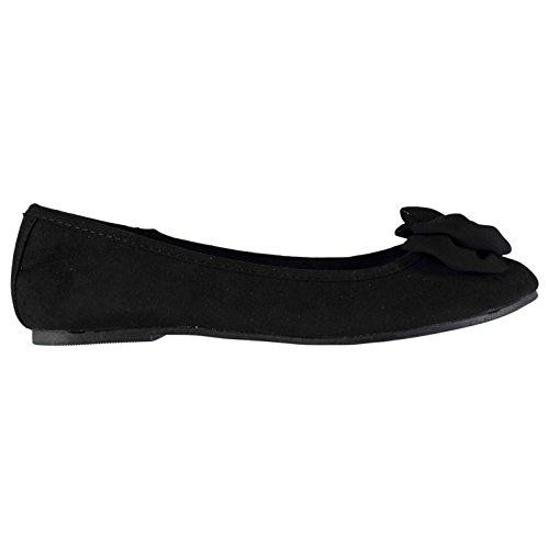 Full Circle Mujer Chiffon Bow Zapatos Señoras Zapatillas Calzado Casual Negro 4 (37)