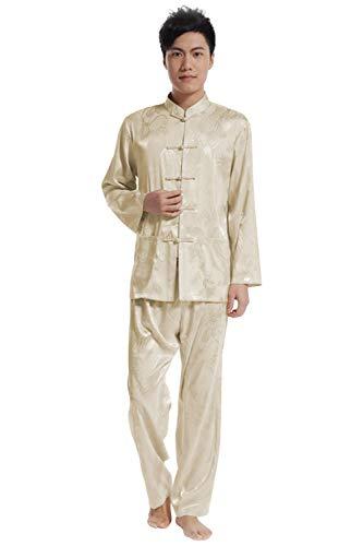 KIKIGOAL Mens Martial Arts Kung Fu Uniform Long Sleeve Tang Suit With Dargon Pattern (XL, beige)
