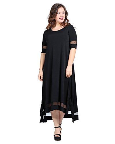 Damen Abendkleid Sommerkleid Casual Elegant auch Große Größen, Kleid Tüll Transparent Durchsichtig Sommerlich Partykleid Freizeitkleid