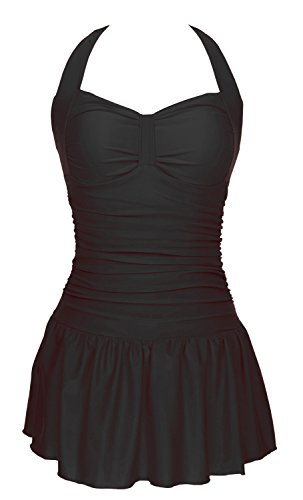 One Piece Floral Ruched Halter Push Up Slim Tummy Control Tankini Swim Dress,Black2,XL(US size:16-18)