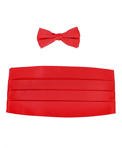 Red Set Cummerbund (Boy's Solid Poly Satin - Bow Tie and Cummerbund Sets , Red)