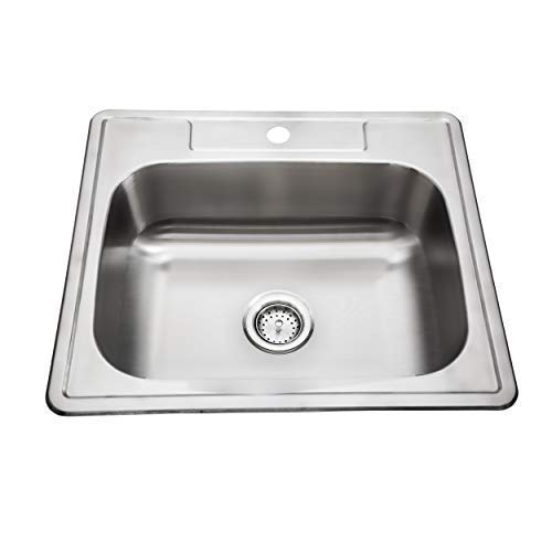 ZUHNE Drop-In Top Mount or Over Mount One Deck Hole Single and Double Bowl Stainless Steel Kitchen Sink (25x22 Single)