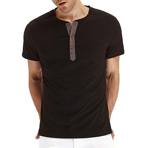 KYLEON_Men's Tops Men's Short-Sleeve Sueded Jersey Crewneck Pocket T-Shirt ()