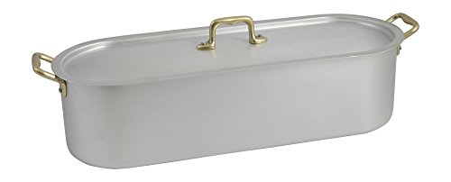 Ottinetti 40cm ''Donna'' Brushed Aluminium Fish Poacher With Lid And Grill, Medium, Silver by Ottinetti (Image #1)