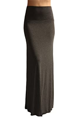 Azules Women'S Rayon Span Regular to Plus Size Maxi Skirt - Solid