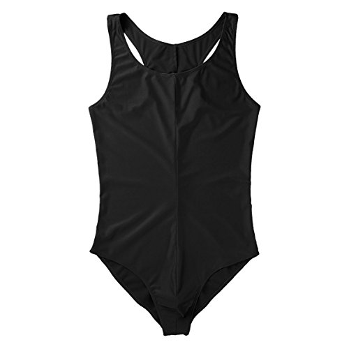 ACSUSS Men's Frilly Lycra Spandex Thongs Bodysuit Swimsuit Leotard Singlet Black Large by ACSUSS