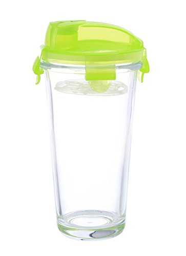 Kinetic GoGREEN Glassworks Series Glass Beverage Shaker with Easy Pour Spout Lid and Blender/Mixer 01362 ()
