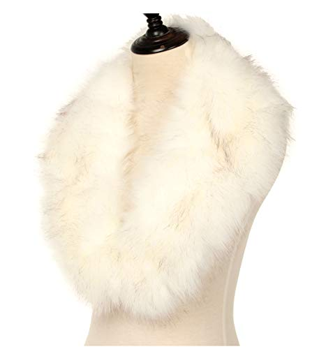 - La Carrie Women's Faux Fur Collar Scarf Wrap Cold Winter Warmer(White)