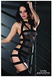 LivCo Corsetti - Bondage-Minikleid Laurinda und String aus Tüll in schwarz