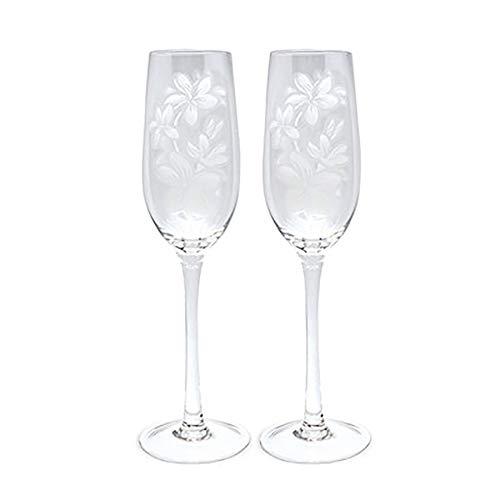 Etched Champagne Flute Set Plumeria