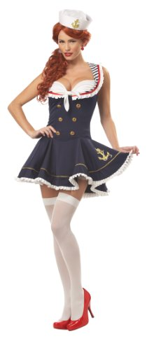Sexy Sailors Costumes (California Costumes Women's Nautical Doll Costume,Navy,Large)
