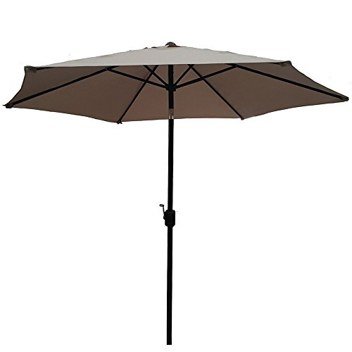Palm Springs 8ft Aluminium Patio Umbrella w/ Tilt - Tan Palm Umbrella Base