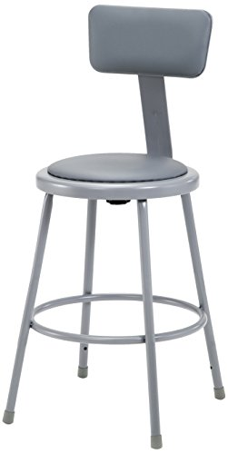 National Public Seating 6424B-CN  Grey Steel Stool with 24'' Vinyl Upholstered Seat and Backrest (Pack of 4) by National Public Seating