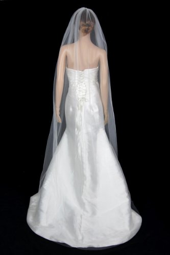 Bridal Wedding Classic Veil Ivory 1 Tier Long Chapel Length Standard Cut Edge by Velvet Bridal (Image #3)