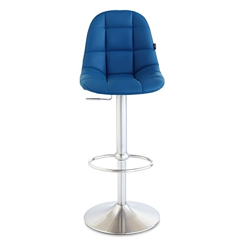Zuri Furniture Dark Blue Rochelle Adjustable Height Swivel Armless Bar Stool
