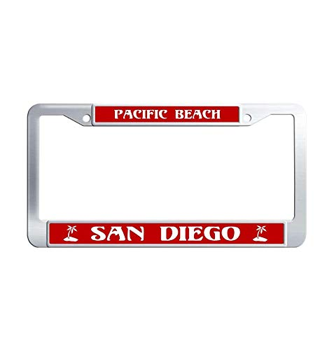 Toanovelty Pacific Beach San Diego Metal Car Licence Plate Covers, Waterproof Stainless Steel Car Tag Frame 6' x 12' in