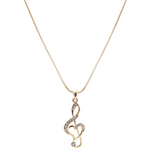 chelseachicNYC Perfect Crystal Treble Clef Music Note Necklace Gold Clear