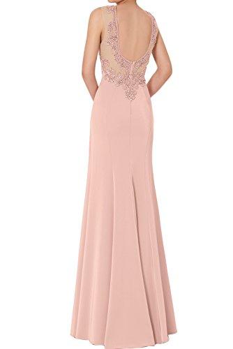 Neu Altrosa Ivydressing Abendkleider Promkleider Glamour Bodenlang Chiffon Applikation Ballkleider Stein Lilac OU7Zw