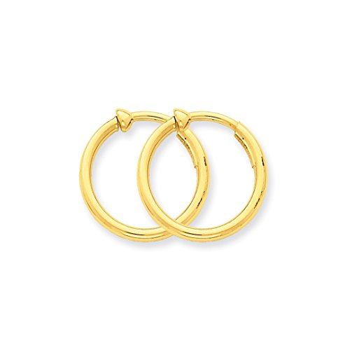 14k Yellow Gold Non Pierced Clip On Hoop Earrings Ear Hoops Set Fine Jewelry For Women Gift ()