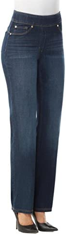 """31H%2BiotJ8BL. AC LUXE DENIM SLIMS Slim Straight Leg Jeans    Slim, straight cut jeans in a pull-on style, with a concealed 4"""" midsection minimizer, 2"""" visible waistband, faux front pocket details and functional back pockets for the look of denim in a streamlined fit. Luxe Denim Slims offer ultimate comfort and compression in a luxurious look and feel: our exclusive Denim 360 fabric has 4-way stretch and 24/7 recovery, giving you a perfect fit every time."""