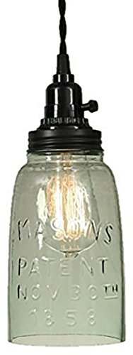 Half Gallon Open Bottom Mason Jar Pendant Lamp-Rustic (Country Pendant Island Light)