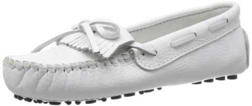 Minnetonka Women's Kilty Driving Moccasin,White Smooth,6.5 M US