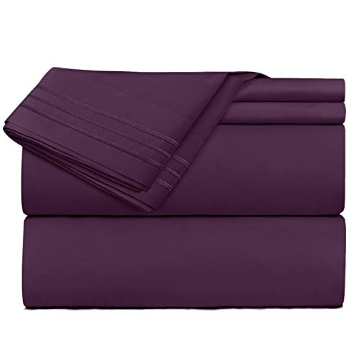 King Size Sheets - 4 Piece King Dark Purple Bed Sheet Set - Hotel Luxury Bed Sheets - Extra Soft Microfiber Sheets - Easy Fit 16