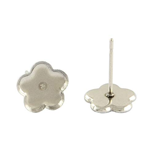 (PH PandaHall About 200 Pcs 304 Stainless Steel Ear Stud, Flat Flower Bezel Tray Blank Cabochon Setting Earring Posts for Earring Finding, Platinum, Flower Tray: 9x9mm )