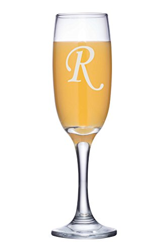 Engraved Initial Toasting Glass, Personalized Champagne Flute for Mothers Day Gift, Anniversary, New Years - CG03