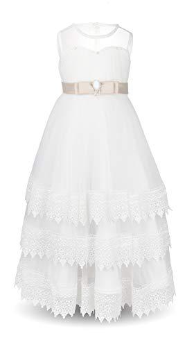 Aodaya Bohemian Sleeveless White Lace Dress Flower Girls Boho Long Dresses for Wedding Party Gala,7-8 Years ()