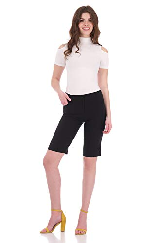Rekucci Women's Iconic Comfort Stretch 5 Pocket Bermuda Short w/Zipper Closure (10,Black)