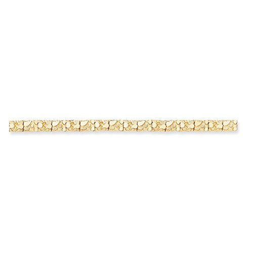 - 14K Gold 7.00mm Nugget Bracelet 8 Inches (0.28 Inches Wide)