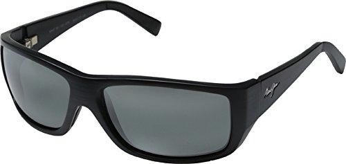 Maui Jim Wassup 123-02W | Polarized Matte Black Wood Grain Wrap Frame Sunglasses, with with Patented PolarizedPlus2 Lens Technology