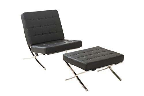 (MCombo Balcony Style Modern Lounge Chair and Ottoman Soft Leather Stainless Steel High Density Foam Cushions & Seamless Visible Corners (Black))