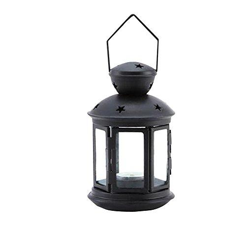 Bc Candle Lamp ([Black] Iron Windproof Candle Holder Romantic Valentine Decoration)