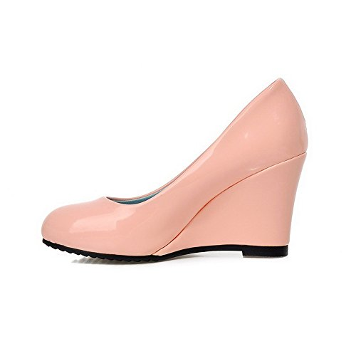 Closed High Round Heels AllhqFashion Shoes Pull Womens On Patent Pink Toe Pumps Leather Solid wqE5BIfB