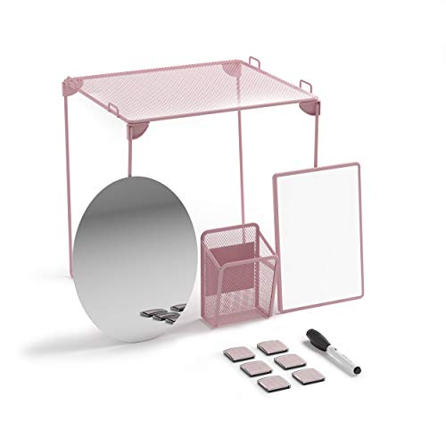U Brands Locker Organizer and Decorating Kit, Back to School Essentials, Blush, 11-Piece, Includes Mirror, Shelf, Magnets, and Other Accessories
