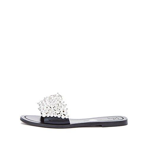 de Negro de Punta DHG Altos Tacón Verano Dulces de bajo Ocasionales Planas de Mujer Zapatillas Tacones Sólido de Color Sandalias Sandalias Sandalias 38 de Moda w66gxUqX