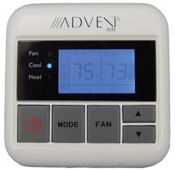 Advent Air ACTH12 Digital Wall Thermostat, Operates both A/C and AC/Heat Pump models, User-friendly controls, Digital communication with Rooftop Unit, Pleasant blue LCD display by Advent Air