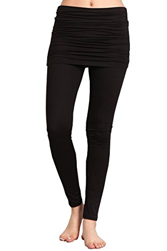 9e00497e37 HEYHUN Womens Athleisure Ultra Soft Knit Foldover Ruched Skirted Yoga  Leggings - Black - XL