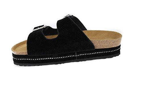 JOE N JOYCE London Velvet Soft-Footbed Sandals Black zkzfk