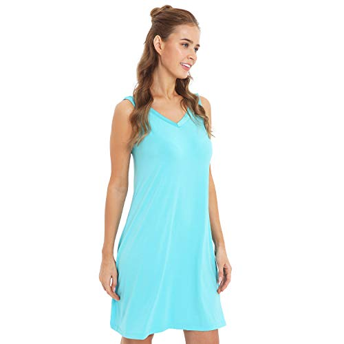 (GYS Womens Bamboo Viscose Sleeveless V Neck Nightgown (S, Emerald Green))