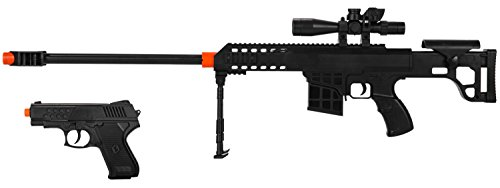 2-IN-1 MINI AIRSOFT BB SPRING SNIPER RIFLE GUN & SIDE-ARM PISTOL - 1/2 SCALE -